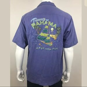 Tommy Bahama Purple Seas The Day Camp Shirt Sz Med